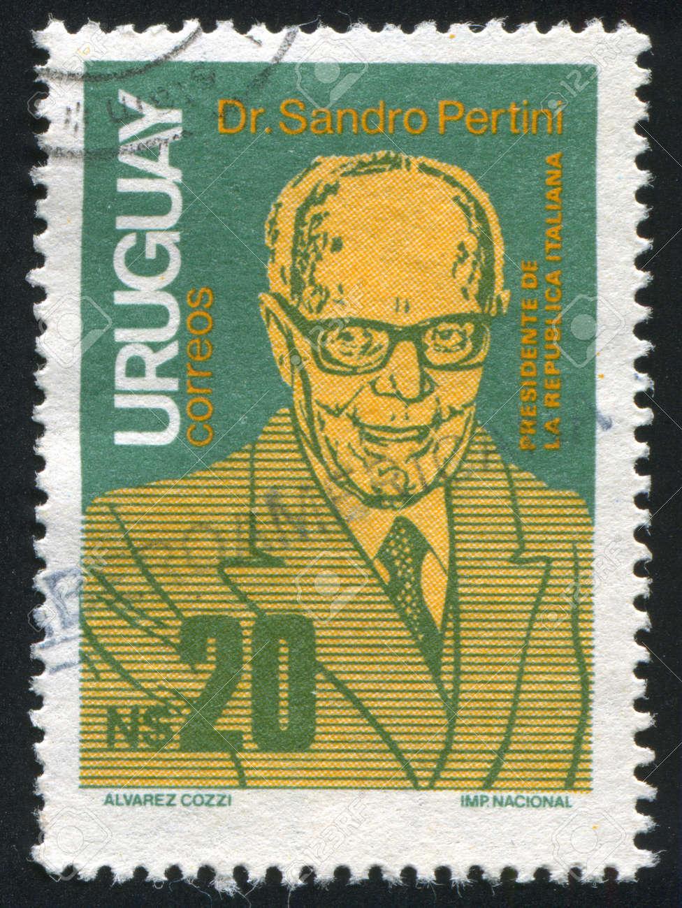 URUGUAY - CIRCA 1986: stamp printed by Uruguay, shows State Visit of President Sandro Pertini of Italy, circa 1986 Stock Photo - 14137018