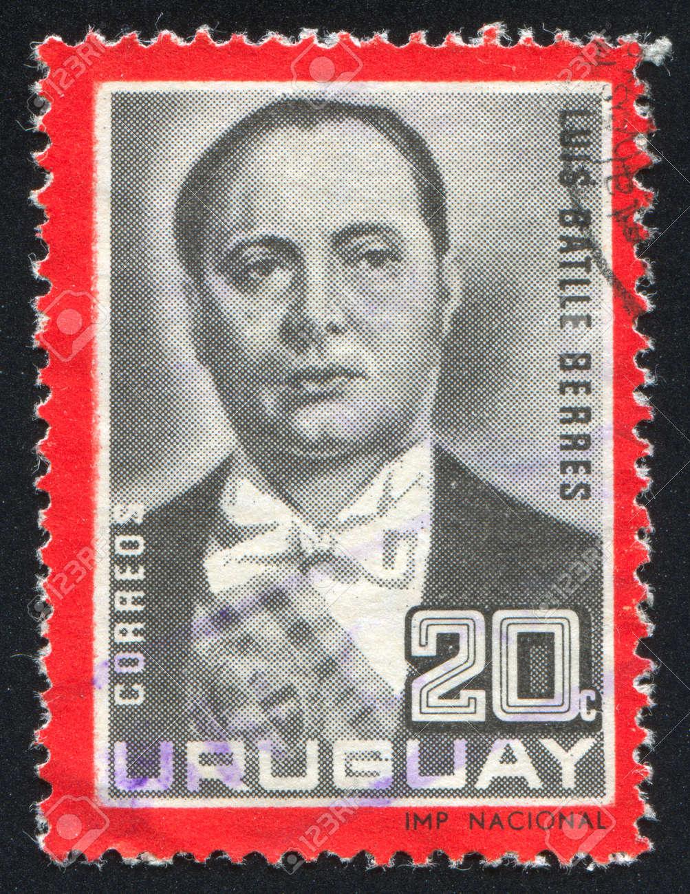 URUGUAY - CIRCA 1966: stamp printed by Uruguay, shows Luis Batlle Berres, circa 1966 Stock Photo - 14137045