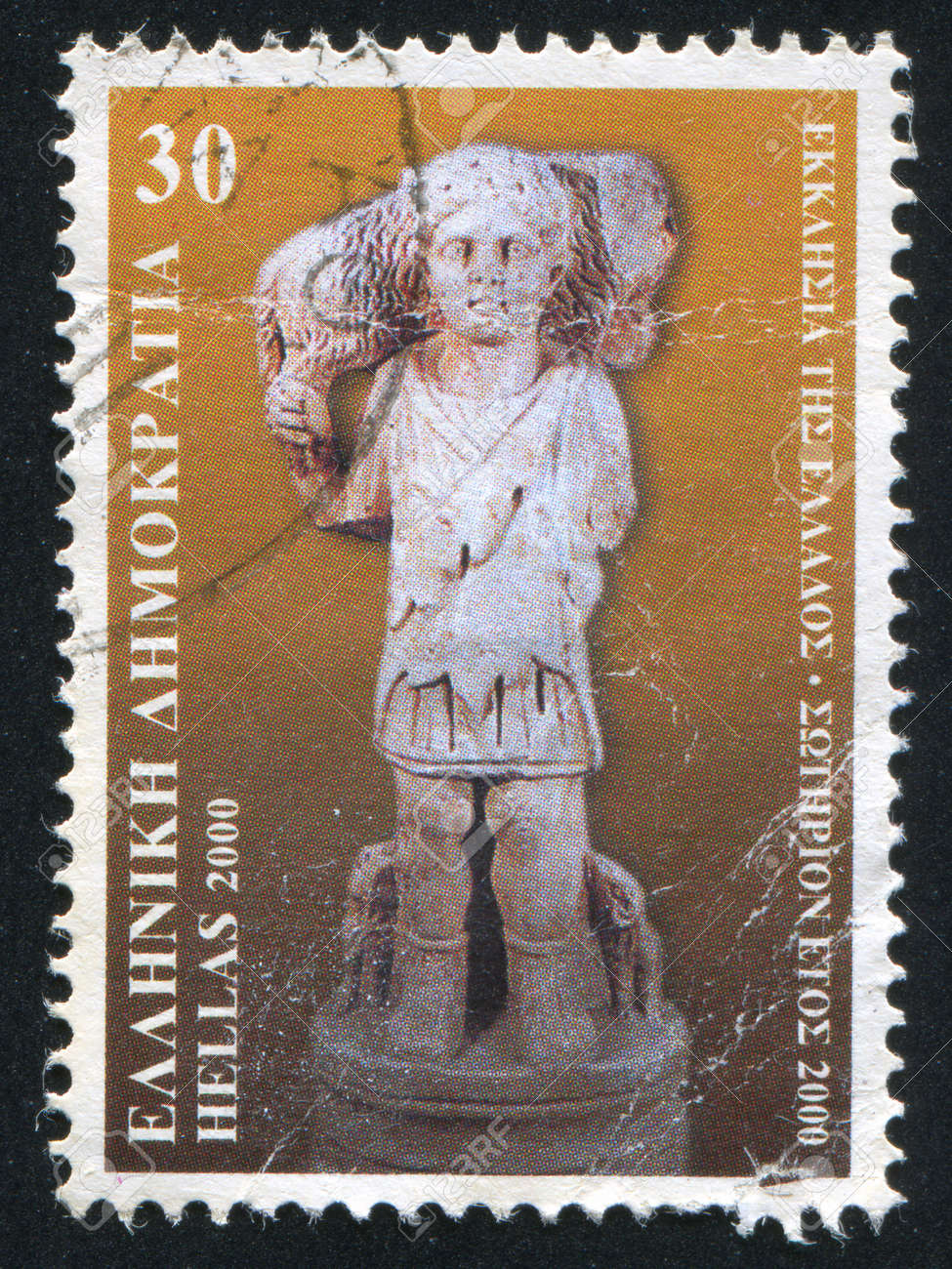 GREECE - CIRCA 2000: stamp printed by Greece, shows Sculpture of the Good Shepherd, circa 2000 Stock Photo - 14444198
