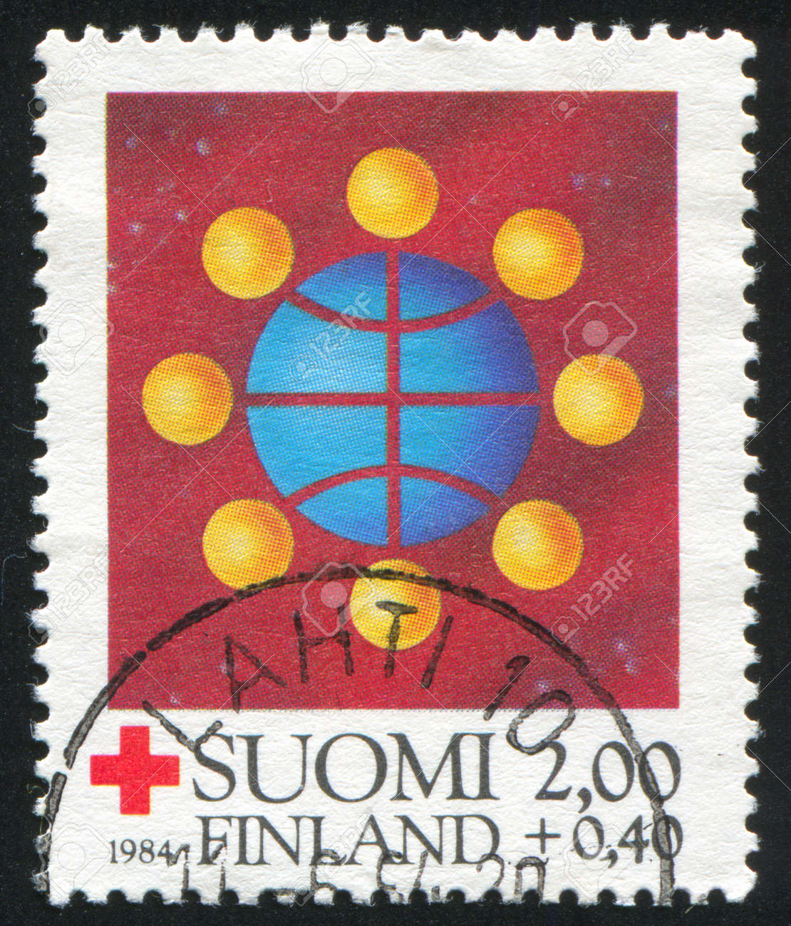FINLAND - CIRCA 1984: stamp printed by Finland, shows Symbolic world communication, circa 1984 Stock Photo - 14564956