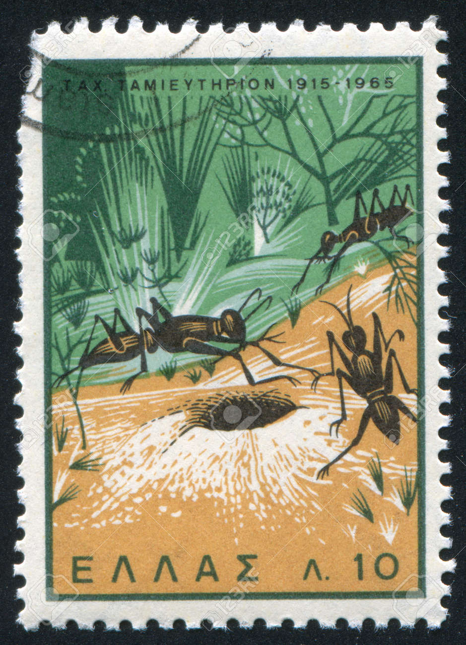 GREECE - CIRCA 1965: stamp printed by Greece, shows Ants ans Anthill, circa 1965 Stock Photo - 14720626