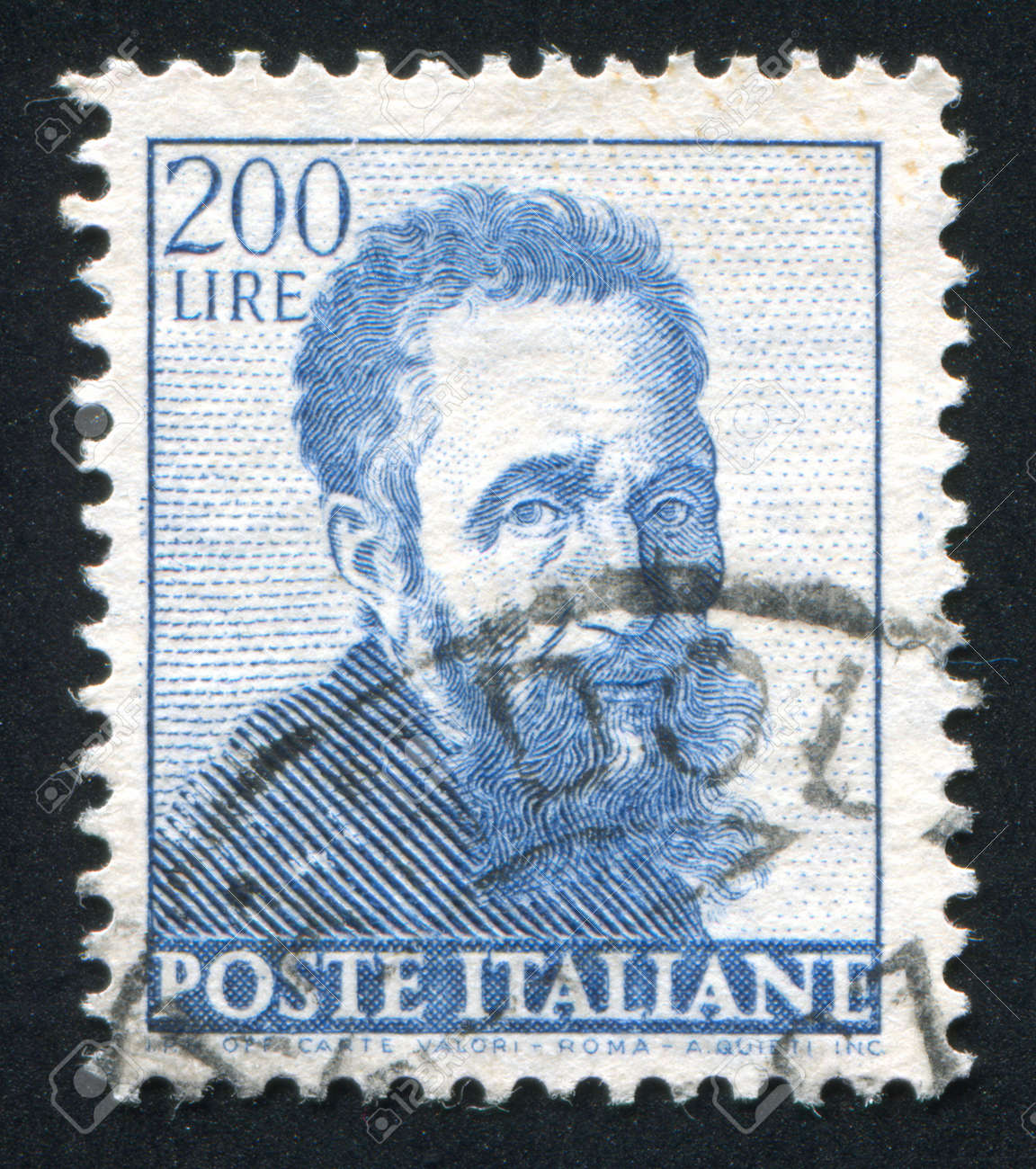 ITALY - CIRCA 1961: stamp printed by Italy, shows Self-portrait by Michelangelo, circa 1961 Stock Photo - 14755663
