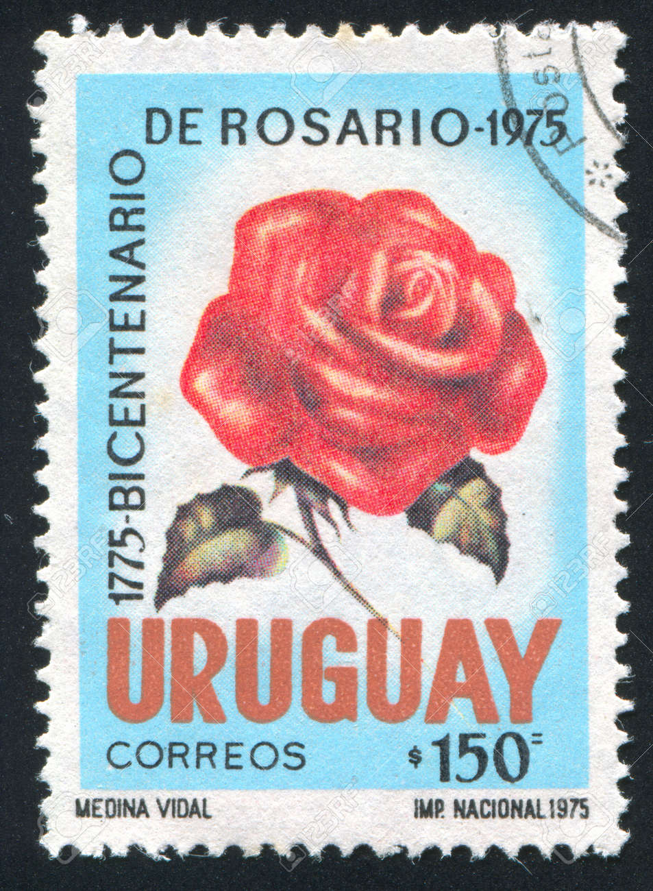 URUGUAY - CIRCA 1975: stamp printed by Uruguay, shows Rose, circa 1975 Stock Photo - 15102413