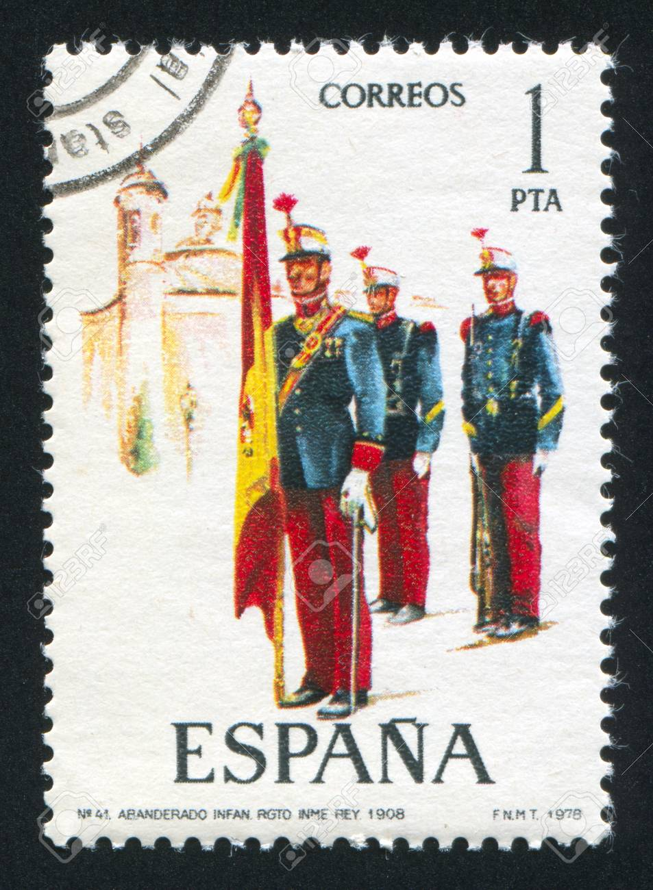 SPAIN - CIRCA 1978: stamp printed by Spain, shows soldier, Flag bearer, 1908, circa 1978. Stock Photo - 15508899