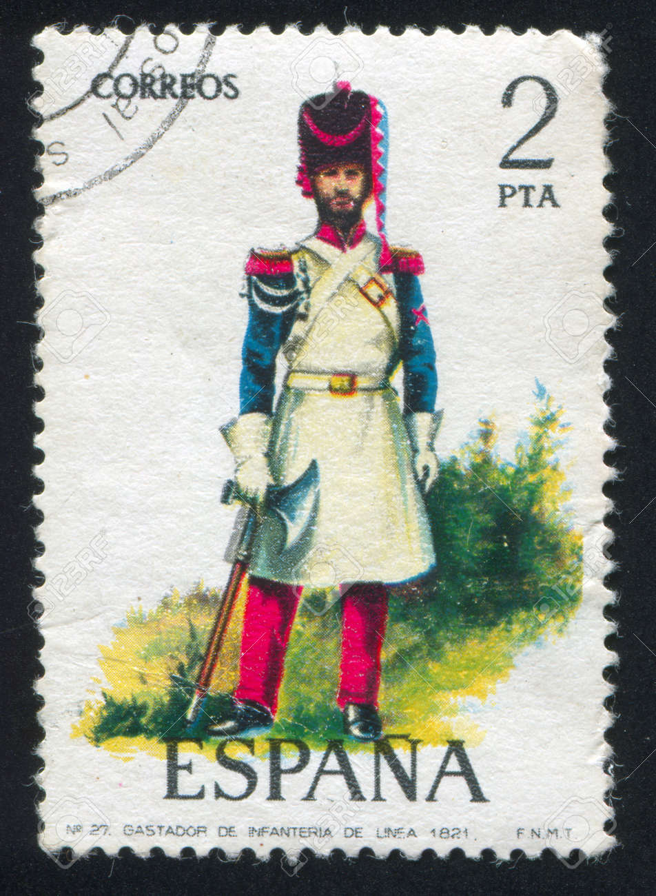 SPAIN - CIRCA 1976: stamp printed by Spain, shows soldier Sapper, circa 1976. Stock Photo - 15508921