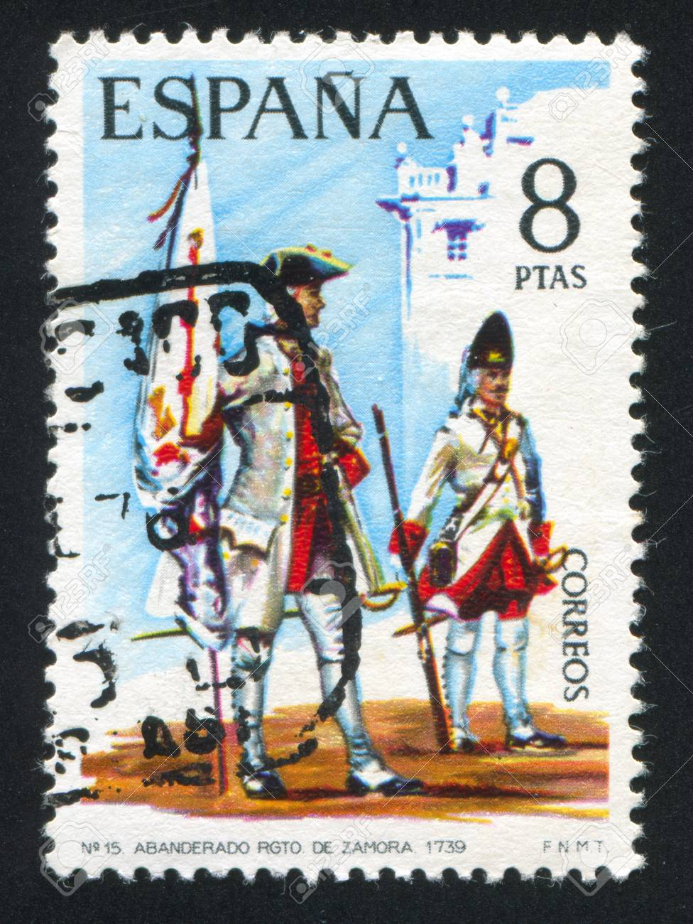 SPAIN - CIRCA 1974: stamp printed by Spain, shows Standard-bearer and soldier, circa 1974. Stock Photo - 15509000