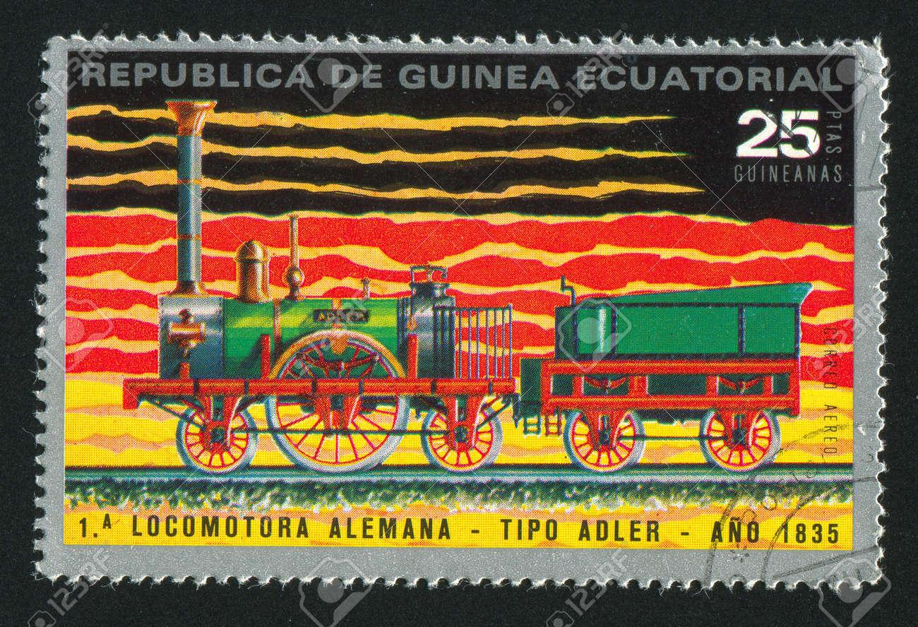 EQUATORIAL GUINEA - CIRCA 1983:  stamp printed by Equatorial Guinea, shows locomotive, circa 1983. Stock Photo - 15671286