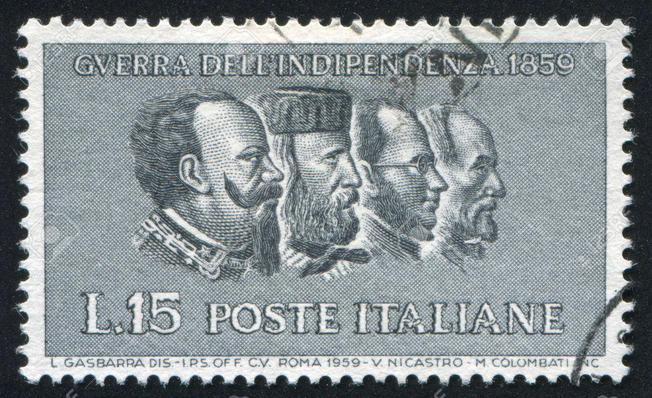 ITALY - CIRCA 1959: stamp printed by Italy, shows Victor Emmanuel II, Giuseppe Garibaldi, Camillo Benso conte di Cavour, Giuseppe Mazzini, circa 1959 Stock Photo - 15849935