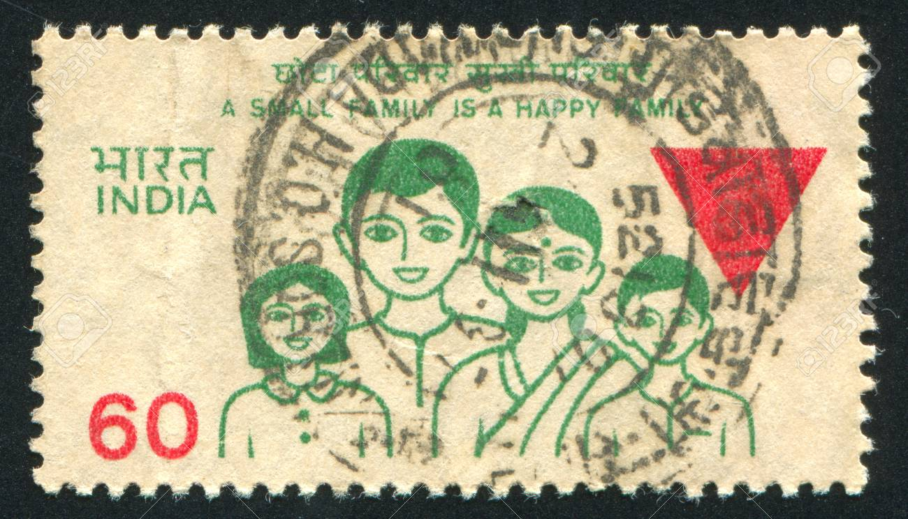 INDIA - CIRCA 1987: stamp printed by India, shows family, circa 1987 Stock Photo - 16223805