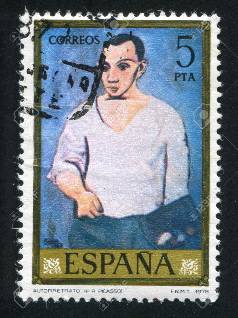SPAIN - CIRCA 1978: stamp printed by Spain, shows self-portrait of Picasso, circa 1978 Stock Photo - 16223886