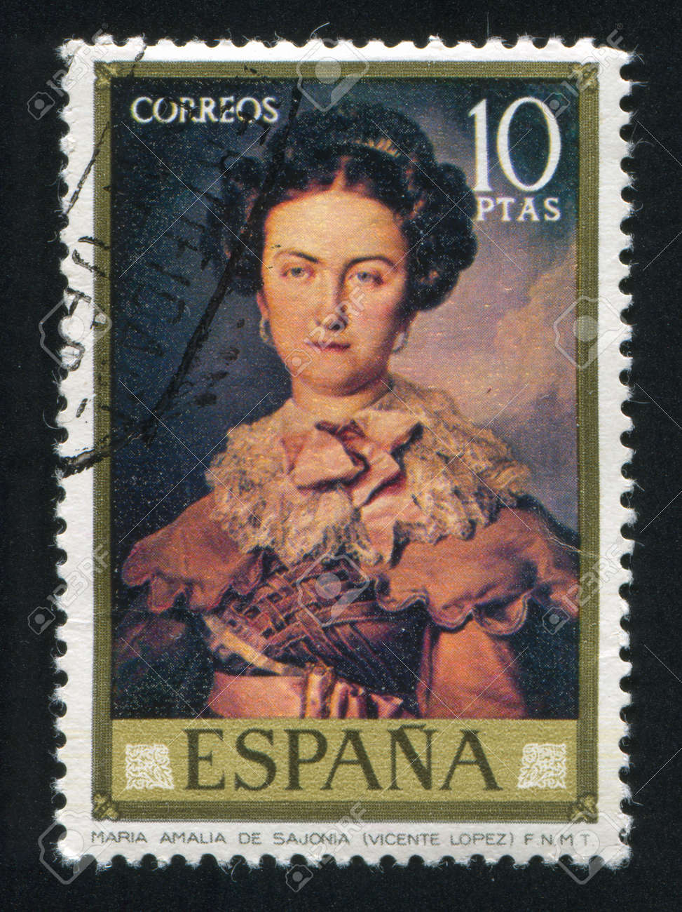 SPAIN - CIRCA 1973: stamp printed by Spain, shows Maria Amalia de Sajonia (Vicente Lopez), circa 1973 Stock Photo - 16223857