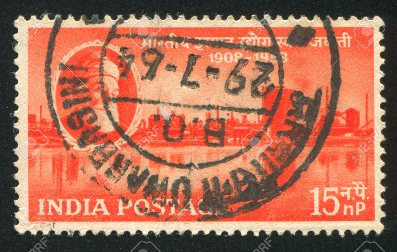 INDIA - CIRCA 1958: stamp printed by India, shows J. N. Tata and Steel Works, Jamshedpur, circa 1958 Stock Photo - 16285417