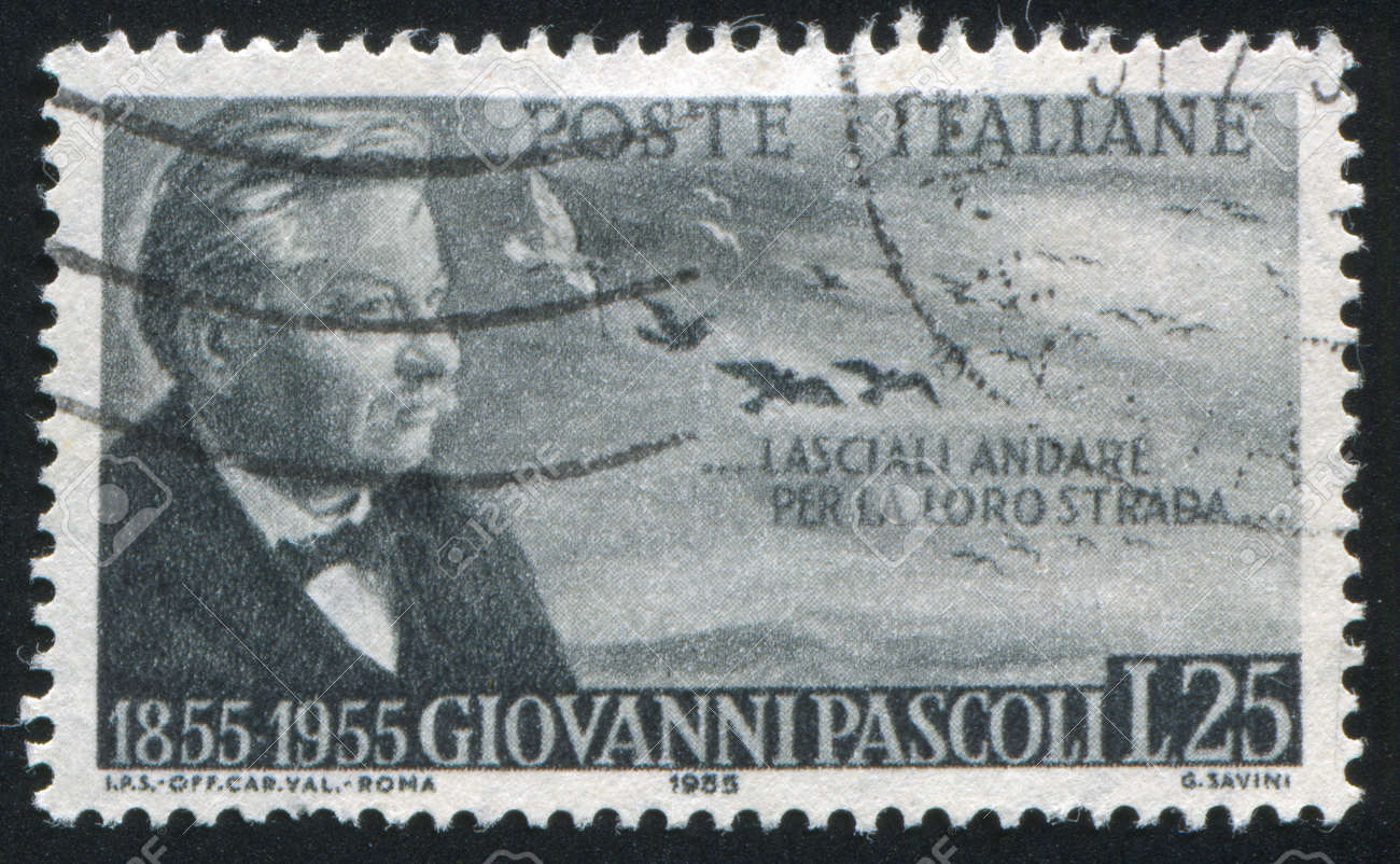 ITALY - CIRCA 1955: stamp printed by Italy, shows Giovanni Pascoli, circa 1955 Stock Photo - 16285010