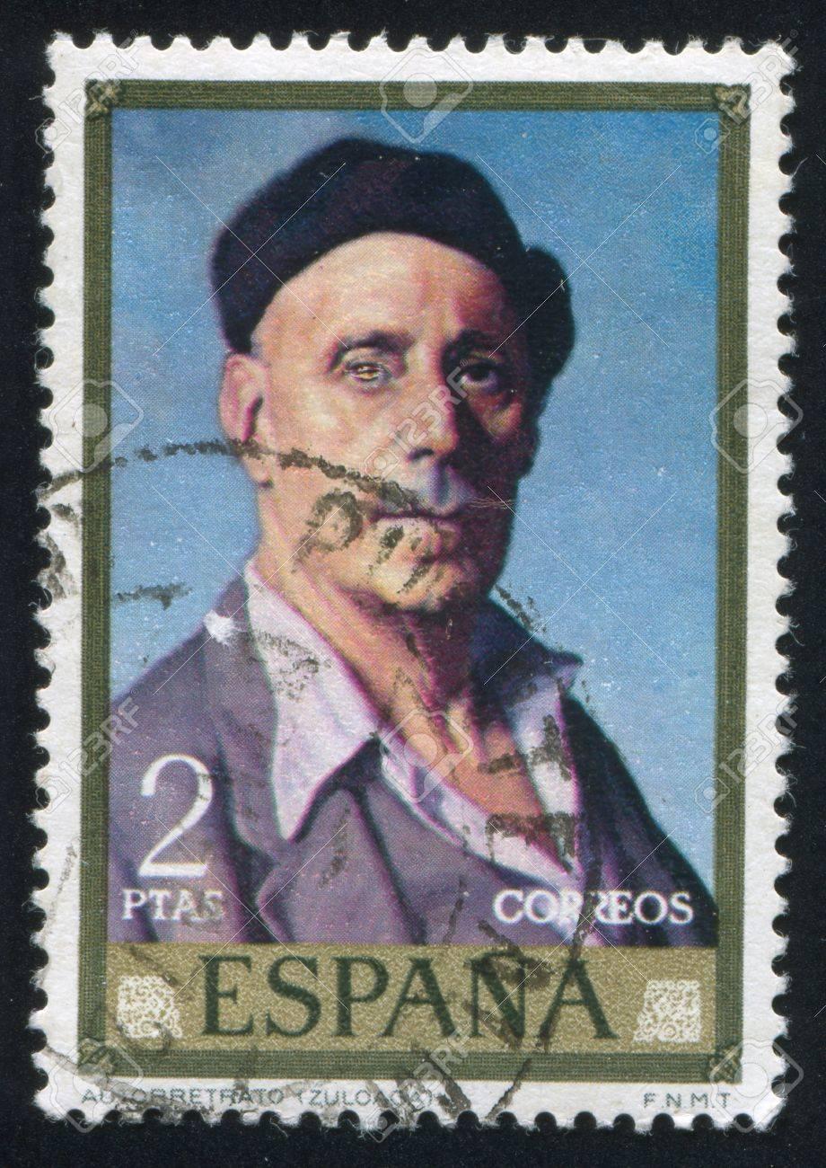 SPAIN - CIRCA 1971: stamp printed by Spain, shows self-portrait of Ignacio Zuloaga, circa 1971 Stock Photo - 16285076