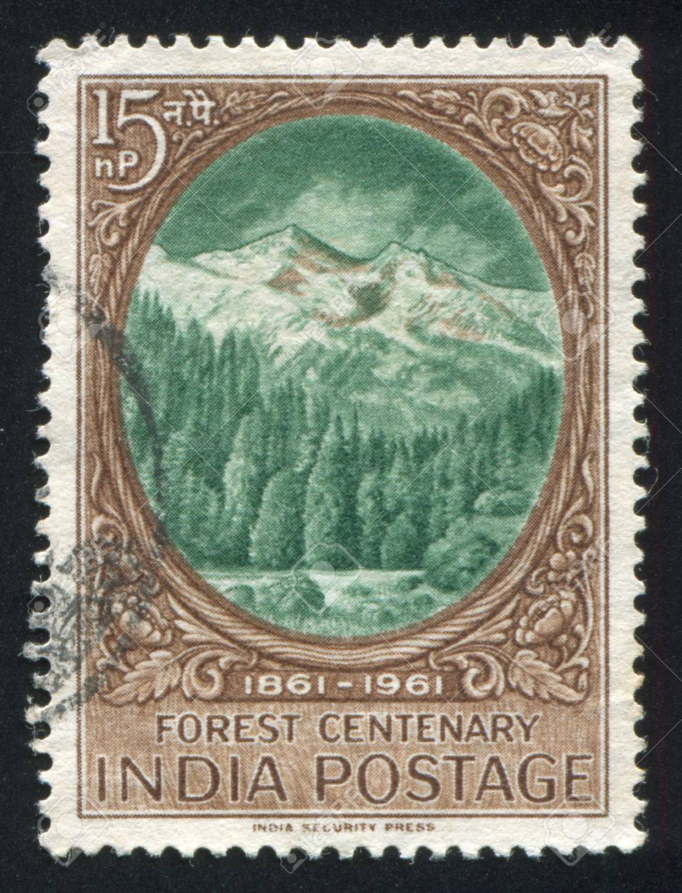 INDIA - CIRCA 1961: stamp printed by India, shows Forest and Himalayas, circa 1961 Stock Photo - 16337942