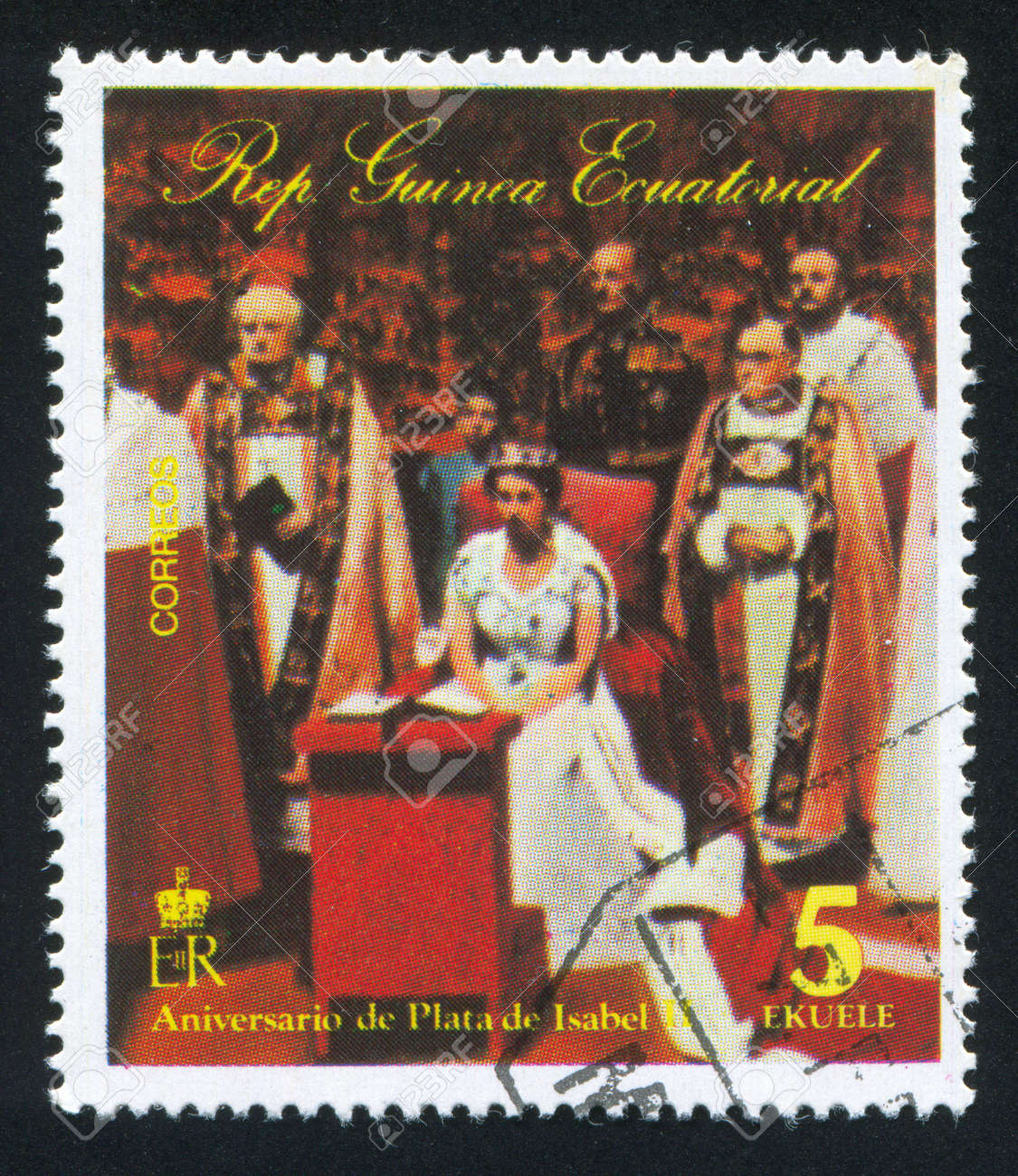 EQUATORIAL GUINEA - CIRCA 1976: stamp printed by Equatorial Guinea, shows Coronation of Isabel II, circa 1976 Stock Photo - 16745336