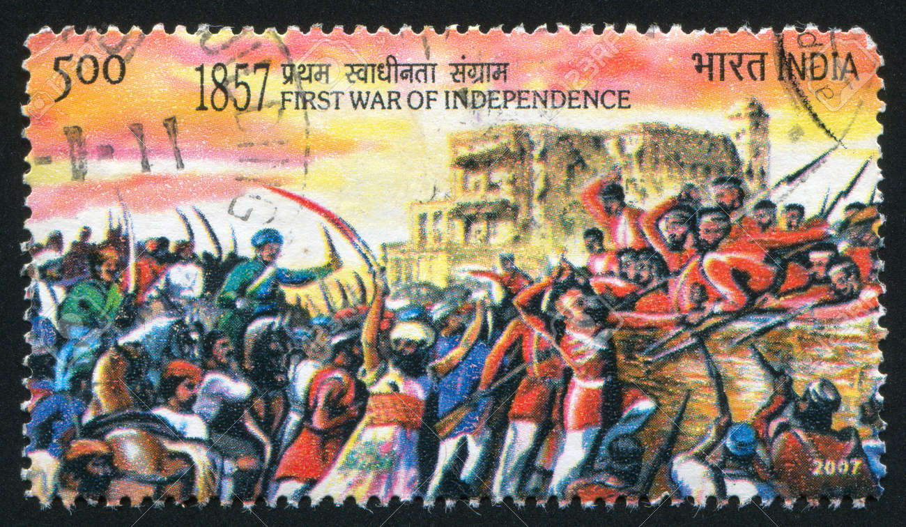 INDIA - CIRCA 2007: stamp printed by India, shows people and soldiers with swords, guns, circa 2007 Stock Photo - 17145393
