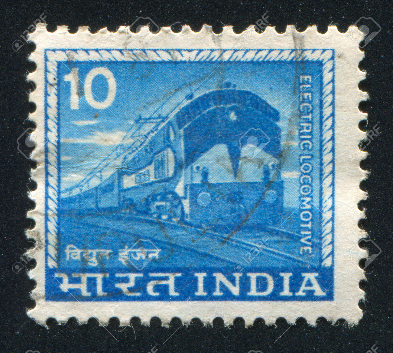 INDIA - CIRCA 1965: stamp printed by India, shows Electric locomotive, circa 1965 Stock Photo - 17145373