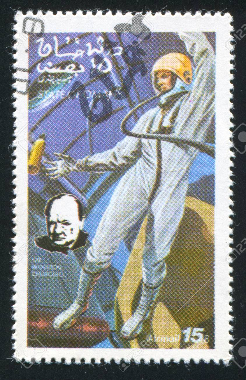 OMAN - CIRCA 1972: stamp printed by Oman, shows Astronaut and Winston Churchill, circa 1972 Stock Photo - 17145623