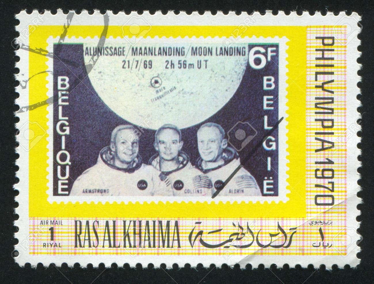 RAS AL KHAIMA - CIRCA 1970: stamp printed by Ras al Khaima, shows Apollo Astronauts, circa 1970 Stock Photo - 17145290