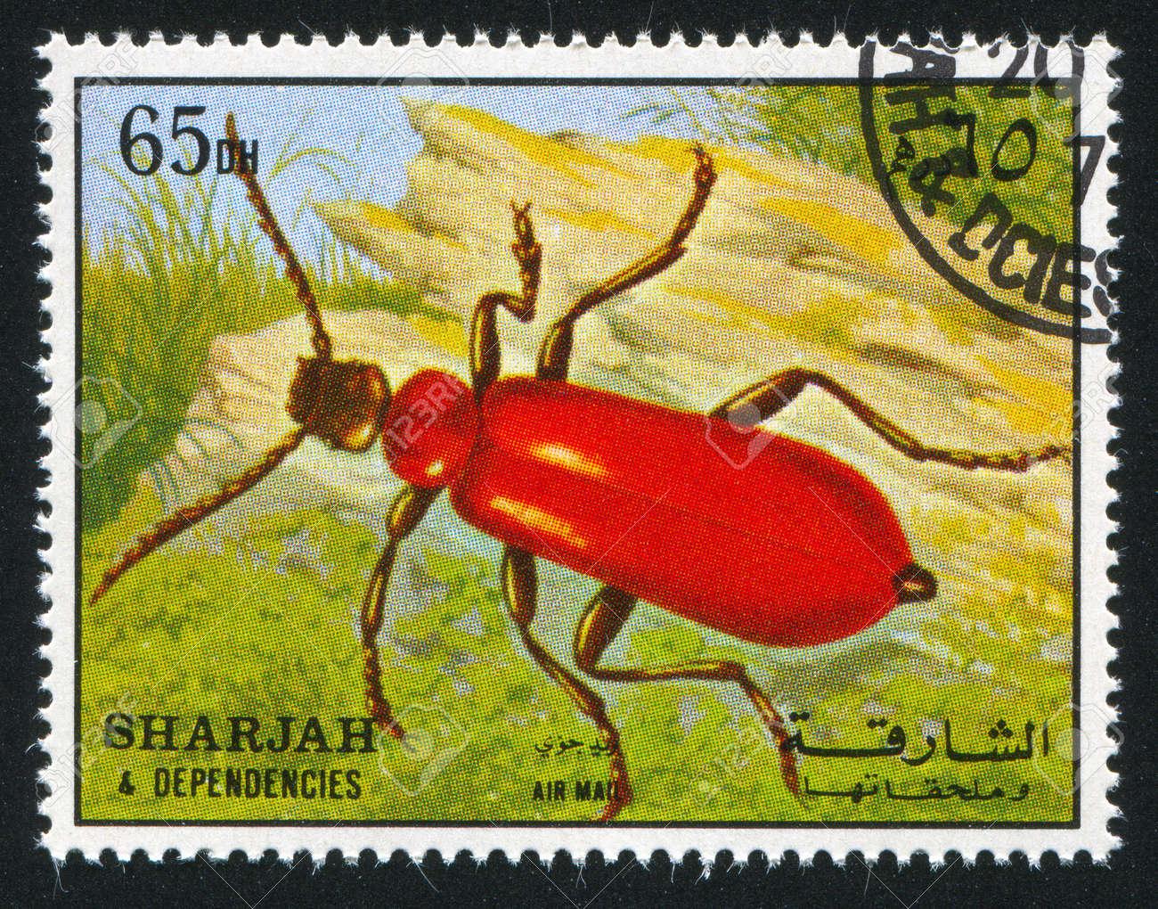 SHARJAH AND DEPENDENCIES - CIRCA 1972: stamp printed by Sharjah and Dependencies, shows a Beetle, circa 1972 Stock Photo - 17145616