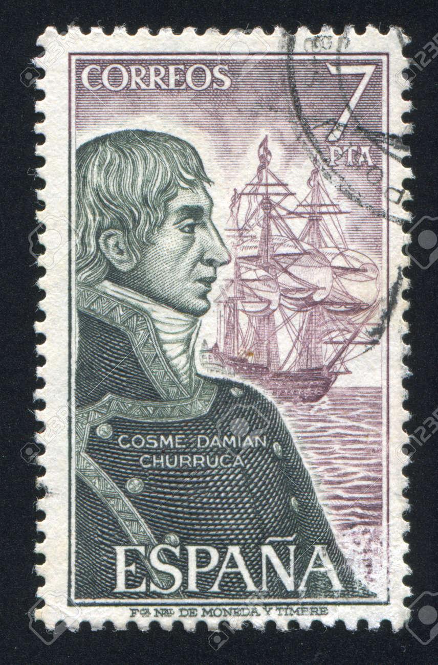 SPAIN - CIRCA 1976: stamp printed by Spain, shows Cosme Damian Churruca, circa 1976 Stock Photo - 17145841