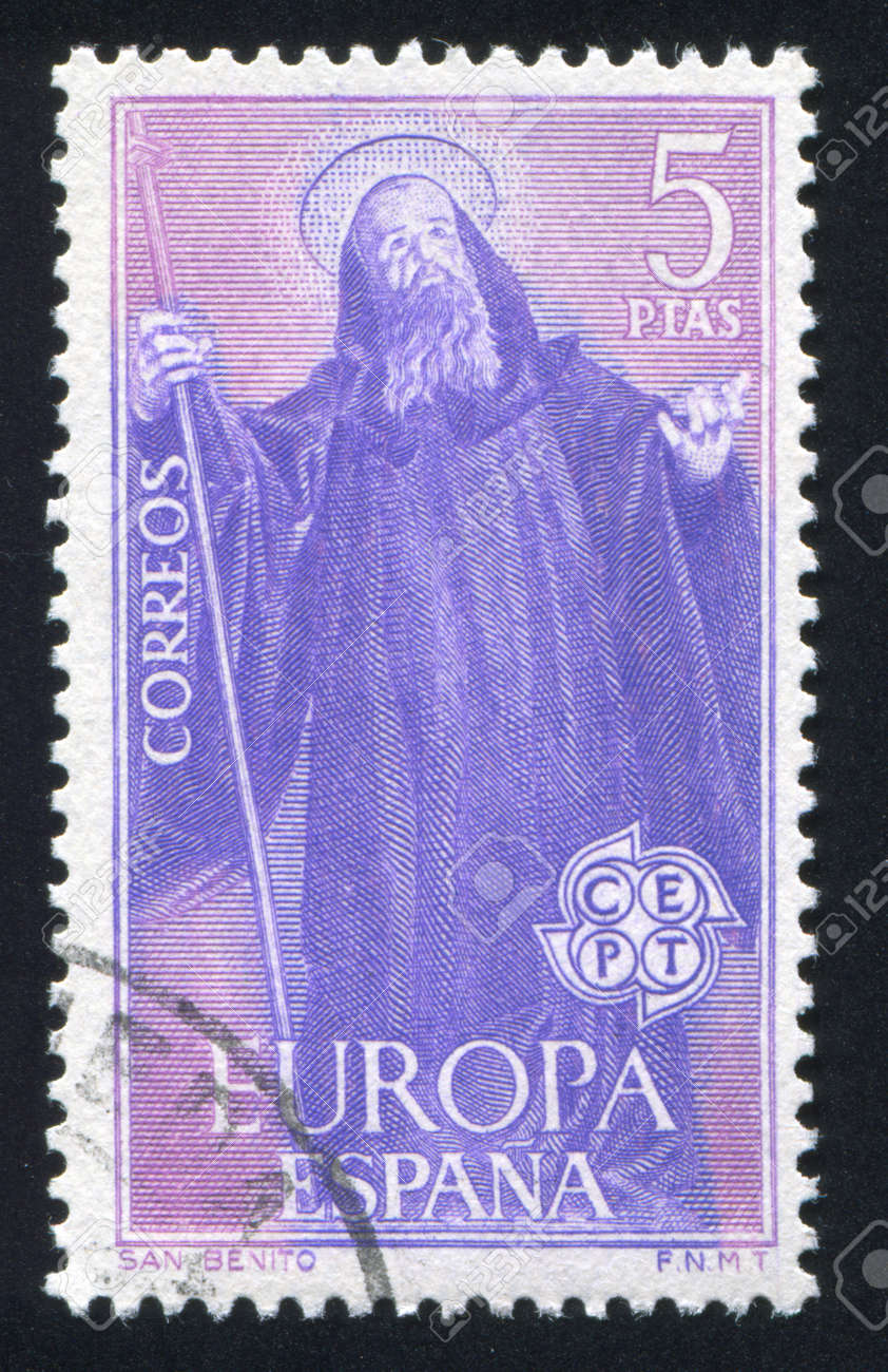 SPAIN - CIRCA 1965: stamp printed by Spain, shows St. Benedict, circa 1965 Stock Photo - 17145533