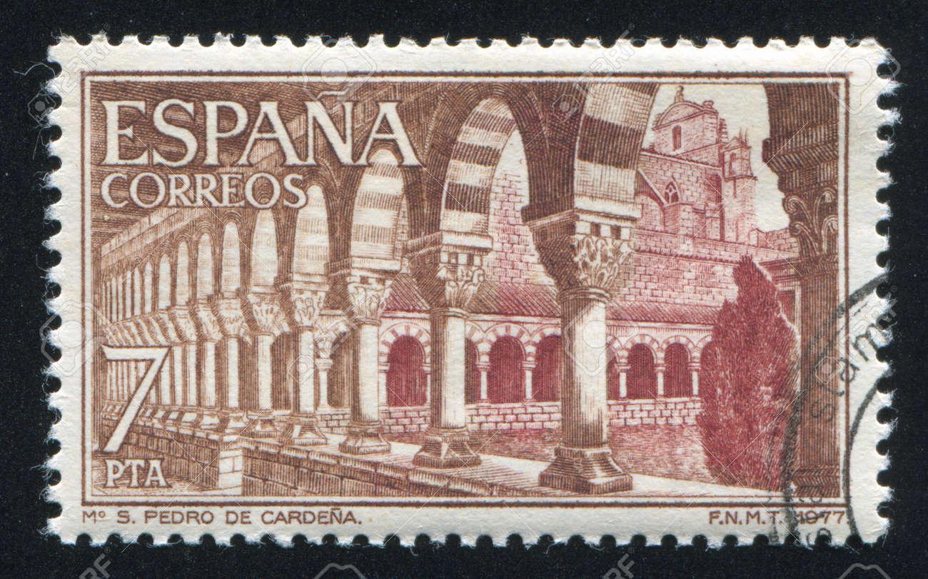 SPAIN - CIRCA 1977: stamp printed by Spain, shows San Pedro Monastery, Cardena, Burgos, Cloister, circa 1977 Stock Photo - 17145642