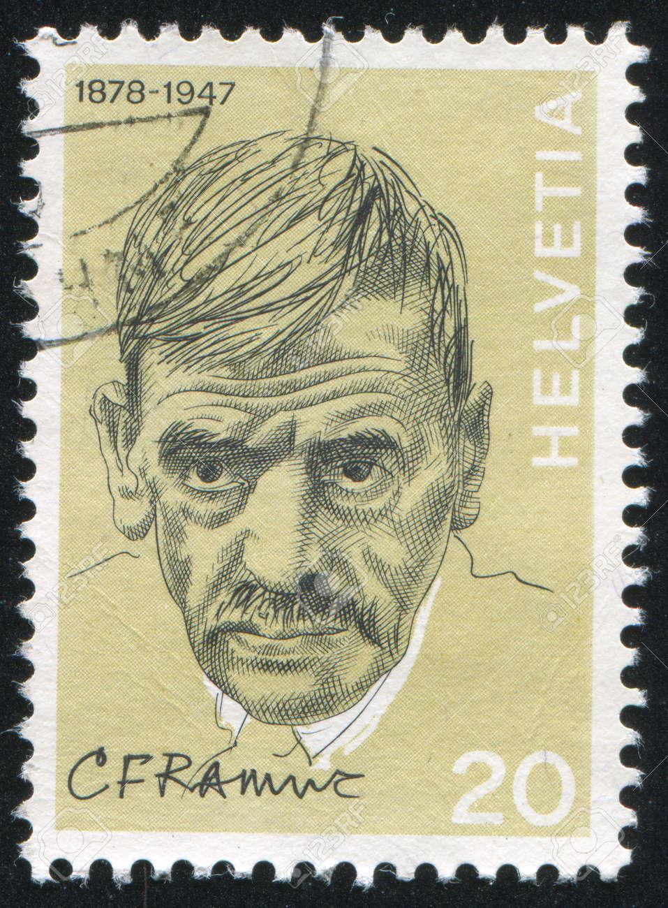 SWITZERLAND - CIRCA 1972: stamp printed by Switzerland, shows Charles Ferdinand Ramuz, circa 1972 Stock Photo - 17145729