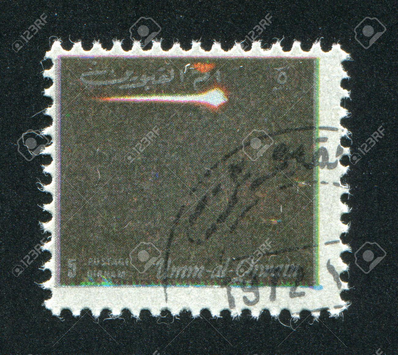 UMM AL-QUWAIN - CIRCA 1972: stamp printed by Umm al-Quwain, shows a Spaceship, circa 1972 Stock Photo - 17145669