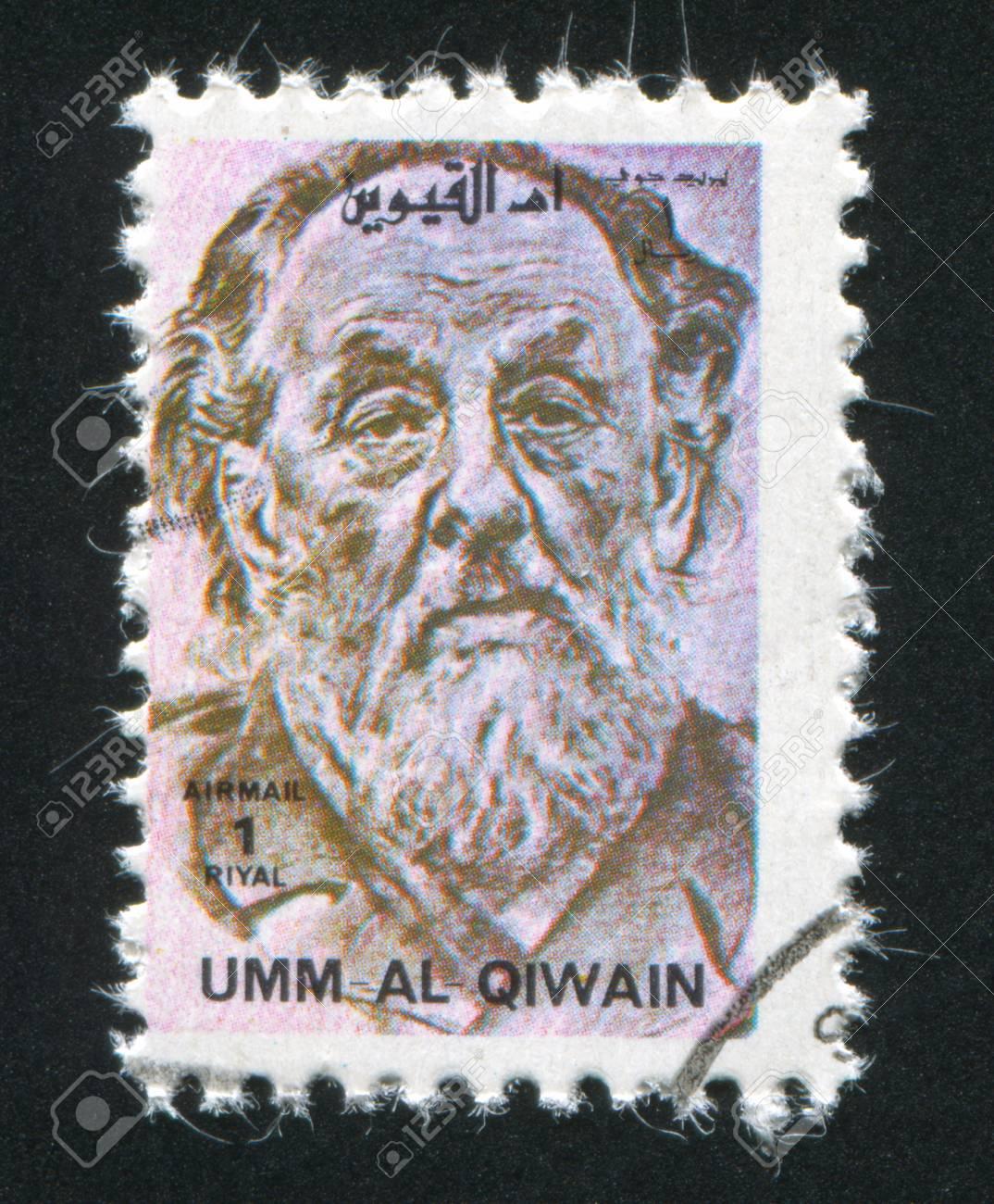 UMM AL-QUWAIN - CIRCA 1972: stamp printed by Umm al-Quwain, shows Konstantin Tsiolkovsky, circa 1972 Stock Photo - 17145564