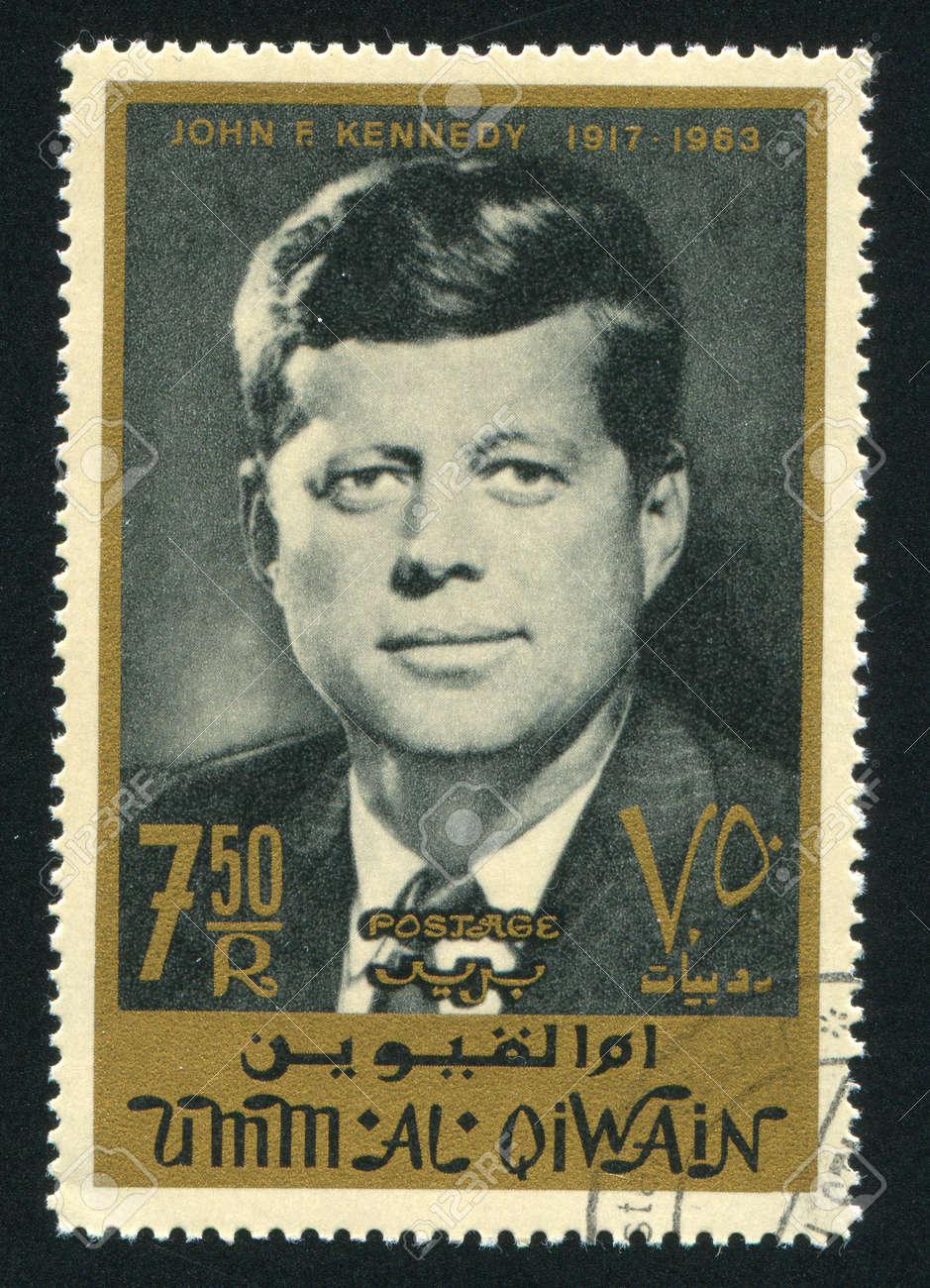 UMM AL-QUWAIN - CIRCA 1972: stamp printed by Umm al-Quwain, shows John Kennedy, circa 1972 Stock Photo - 17145632