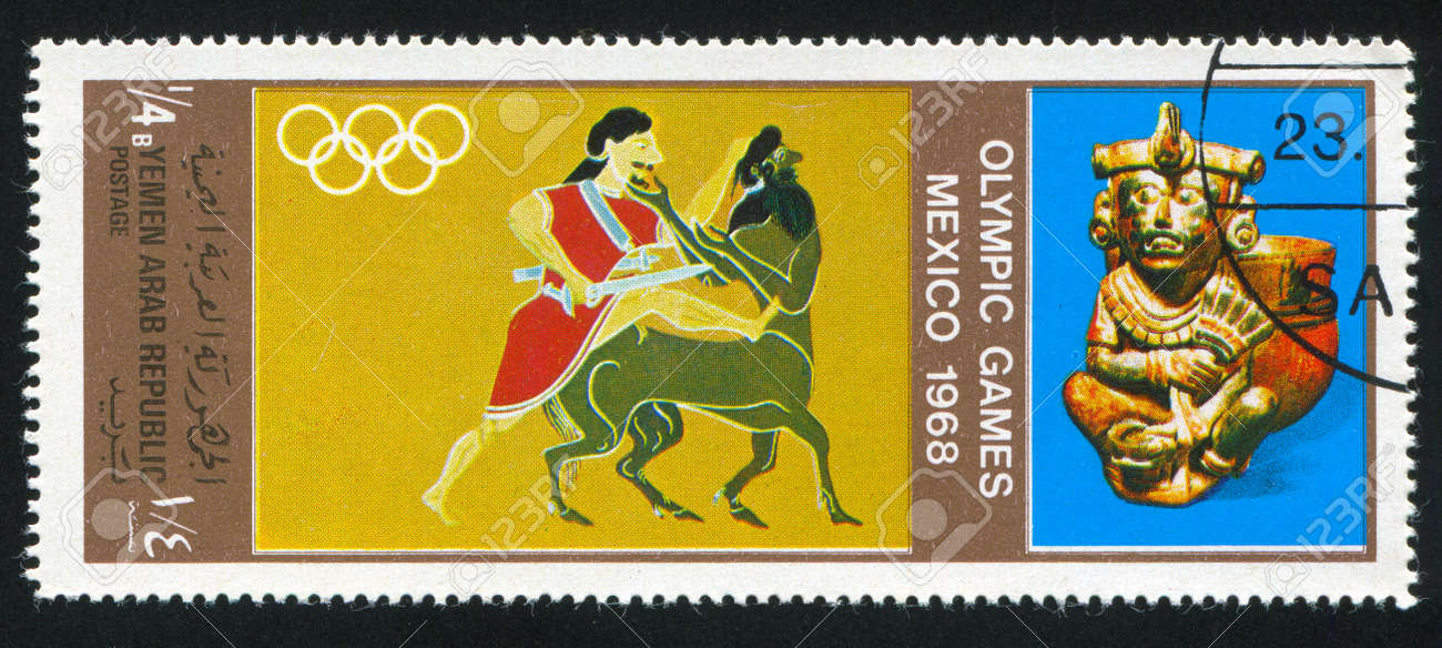 YEMEN - CIRCA 1968: stamp printed by Yemen, shows Olympic games, circa 1968 Stock Photo - 17145721
