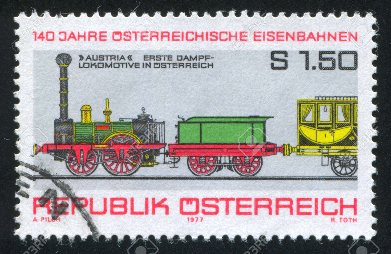 AUSTRIA - CIRCA 1977: stamp printed by Austria, shows First Steam Locomotive, circa 1977 Stock Photo - 17437340