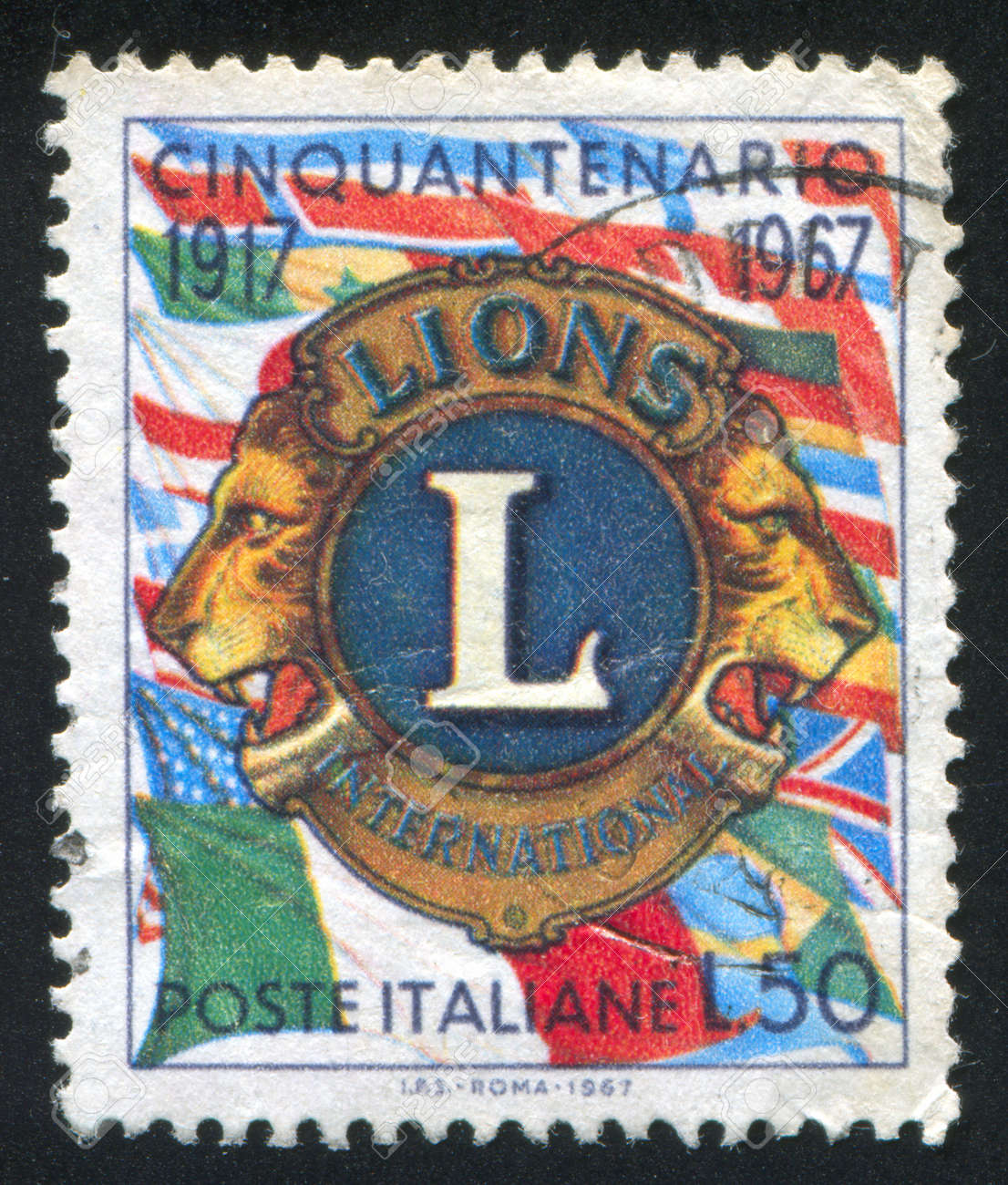 ITALY - CIRCA 1967: stamp printed by Italy, shows Lions Emblem, circa 1967 Stock Photo - 17464373