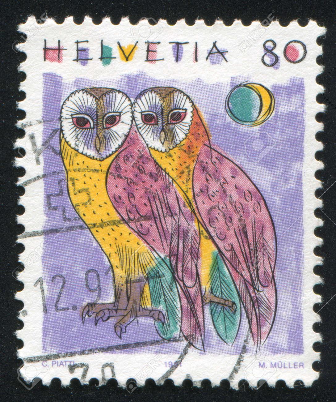 SWITZERLAND - CIRCA 1991: stamp printed by Switzerland, shows Barn owls, Animals, circa 1991 Stock Photo - 17464489