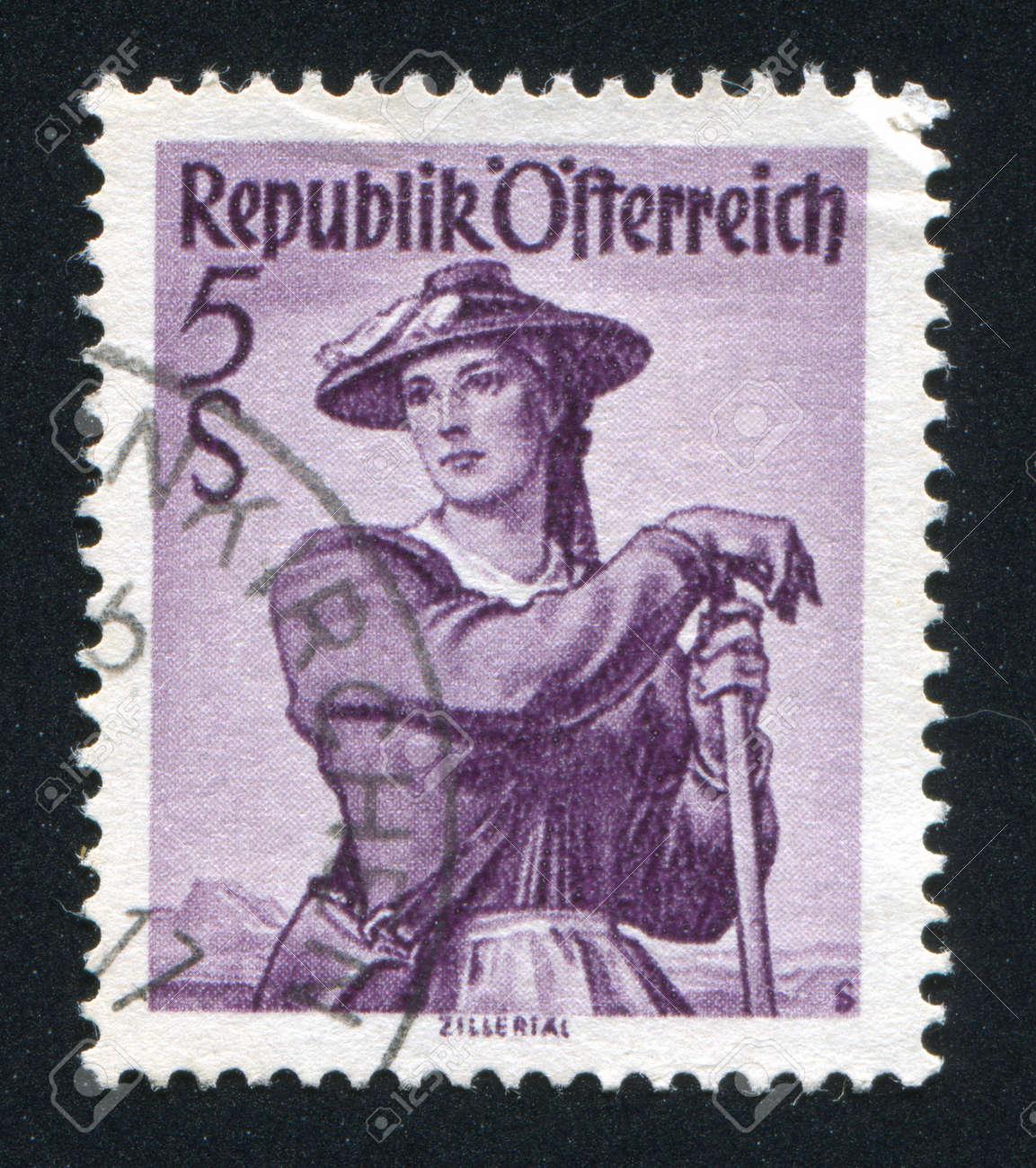 AUSTRIA - CIRCA 1948: stamp printed by Austria, shows Austrian costume in Ziller Valley, circa 1948 Stock Photo - 17837840