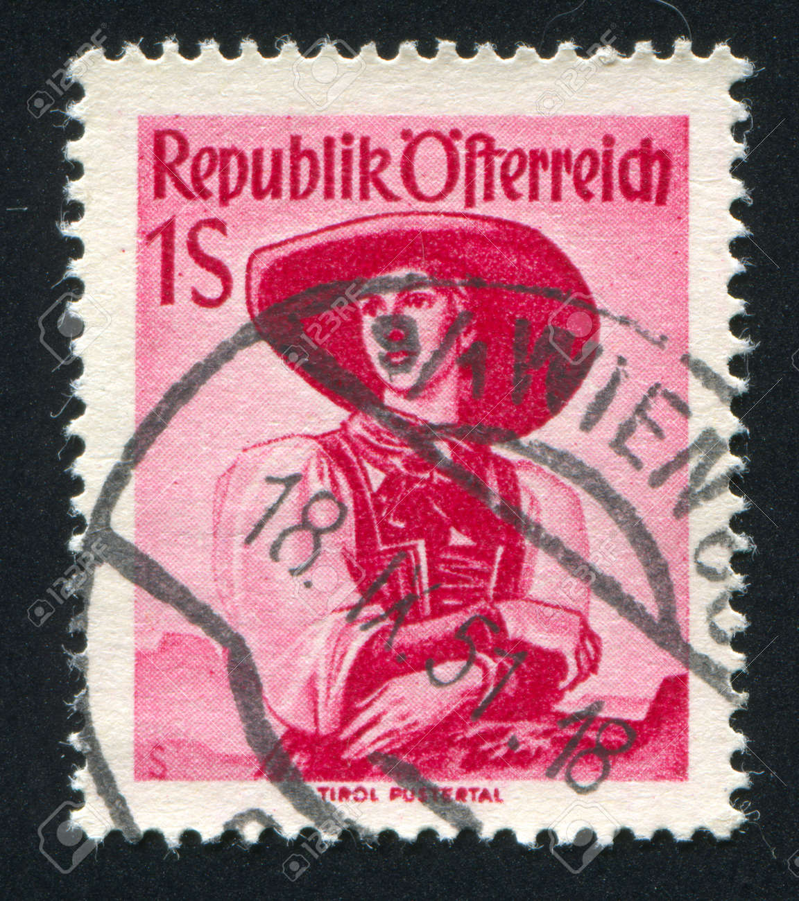AUSTRIA - CIRCA 1948: stamp printed by Austria, shows Austrian costume in Tyrol, Puster Valley, circa 1948 Stock Photo - 17837760