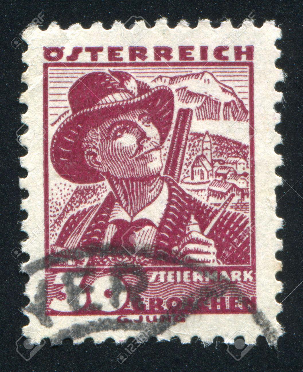AUSTRIA - CIRCA 1932: stamp printed by Austria, shows Costumes in Styria, circa 1932 Stock Photo - 17837801
