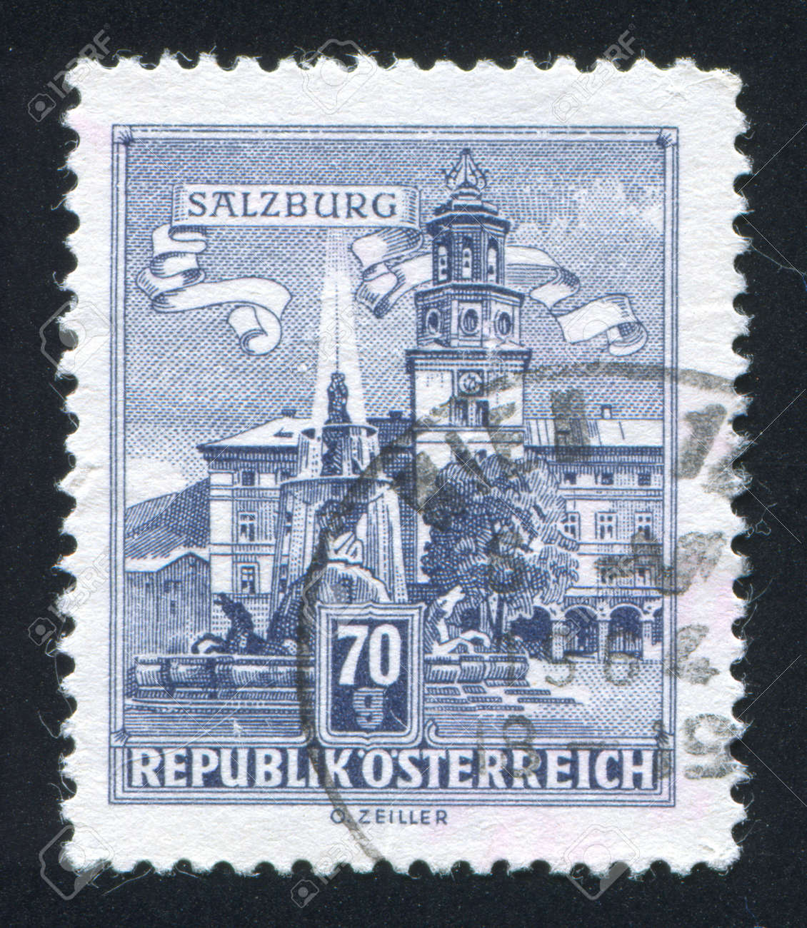 AUSTRIA - CIRCA 1957: stamp printed by Austria, shows Residenz Fountain, Salzburg, circa 1957 Stock Photo - 17809673