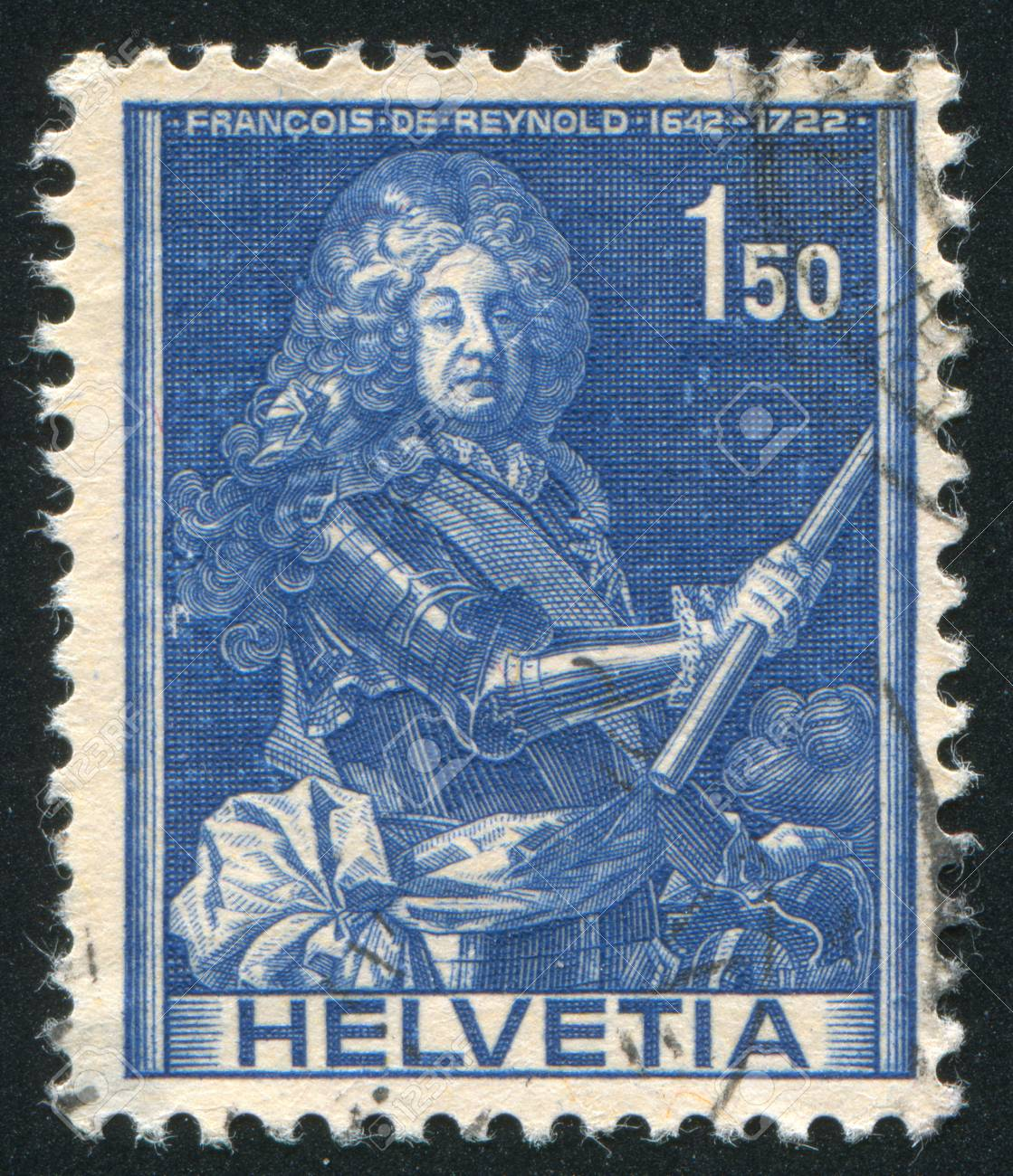 SWITZERLAND - CIRCA 1941: stamp printed by Switzerland, shows Francois de Reynold, circa 1941 Stock Photo - 17838269