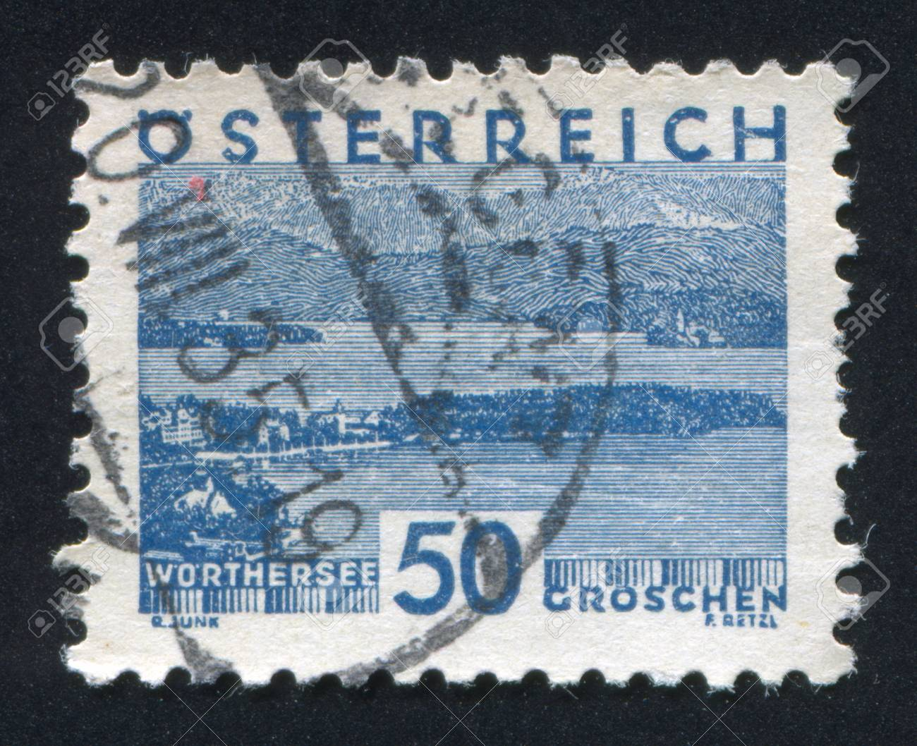 AUSTRIA - CIRCA 1930: stamp printed by Austria, shows Worthersee, circa 1930 Stock Photo - 18113217