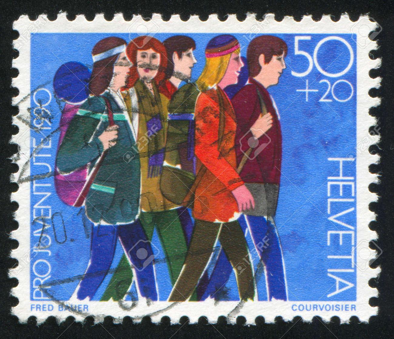 SWITZERLAND - CIRCA 1990: stamp printed by Switzerland, shows Youth groups, circa 1990 Stock Photo - 18114142