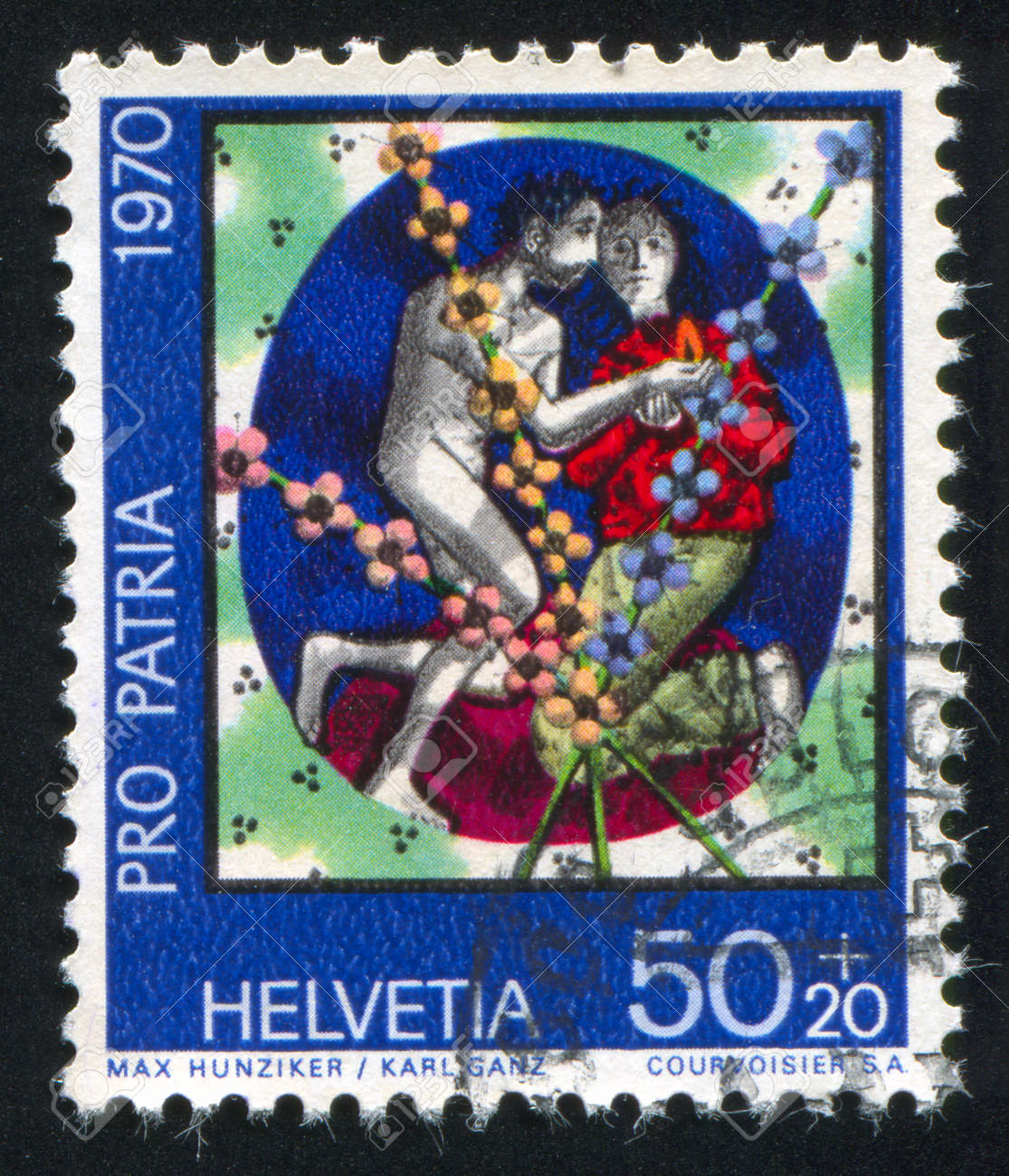 SWITZERLAND - CIRCA 1970: stamp printed by Switzerland, shows Man and woman by Max Hunziker and Karl Ganz, circa 1970 Stock Photo - 18114180