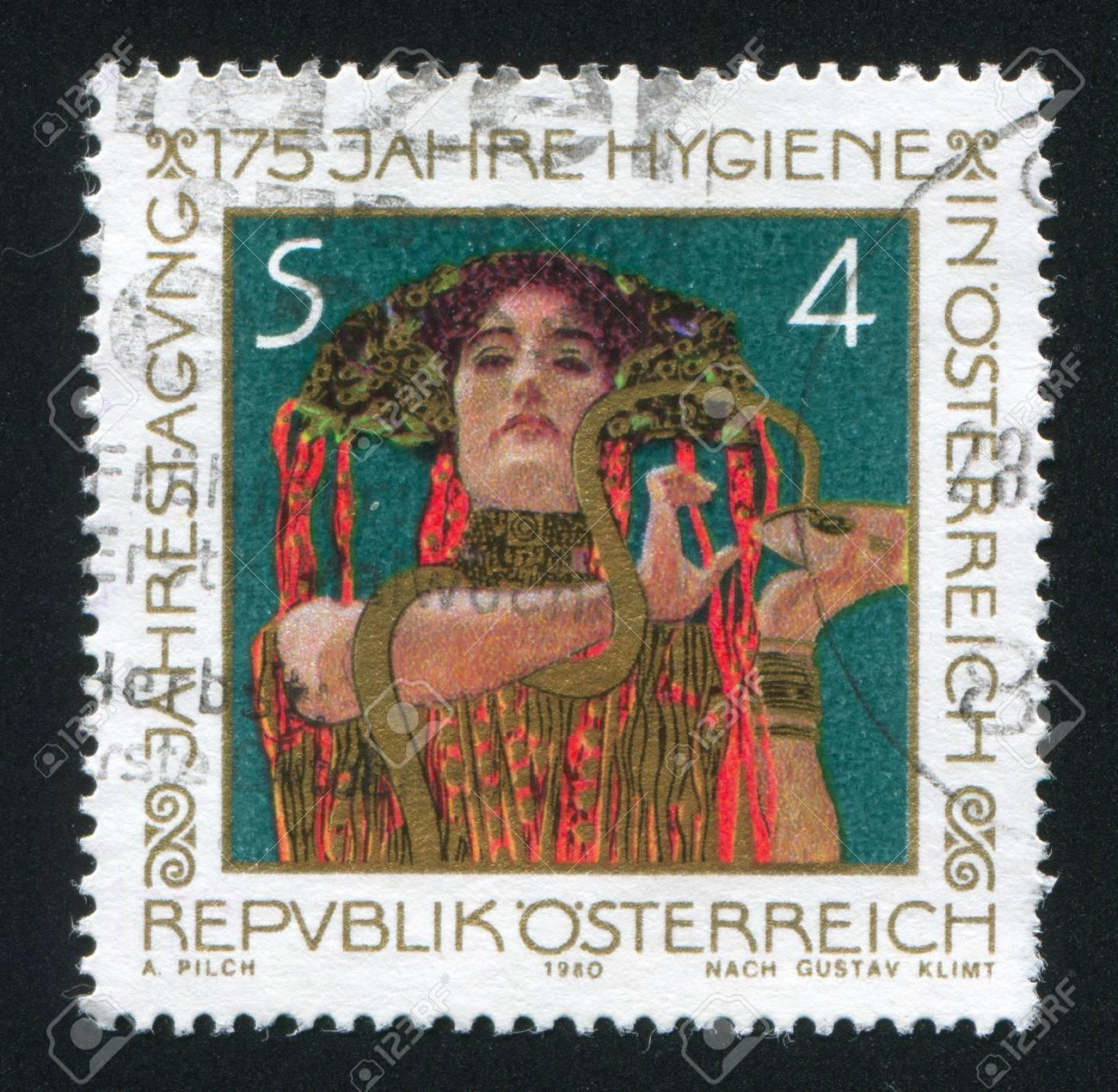 AUSTRIA - CIRCA 1980: stamp printed by Austria, shows Hygeia by Gustav Klimt, circa 1980 Stock Photo - 18329836