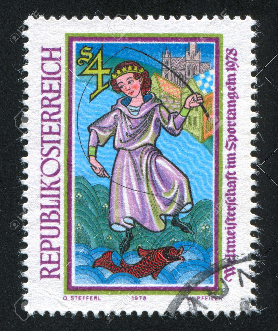 AUSTRIA - CIRCA 1978: stamp printed by Austria, shows Empreror Maximilian Fishing, circa 1978 Stock Photo - 18329738