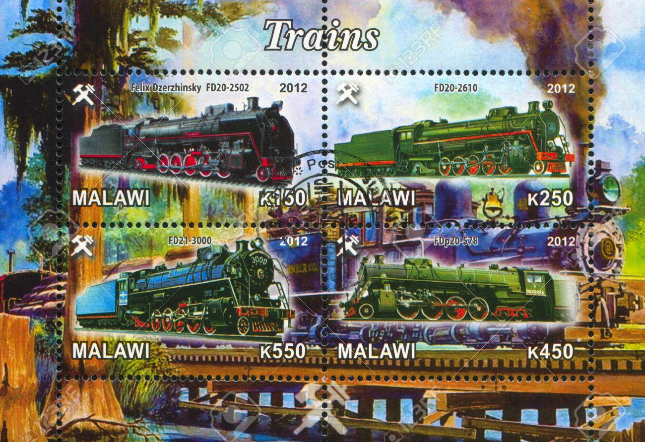 Malawi - CIRCA 2012: stamp printed by Malawi, shows Steam locomotive, circa 2012 Stock Photo - 22888592