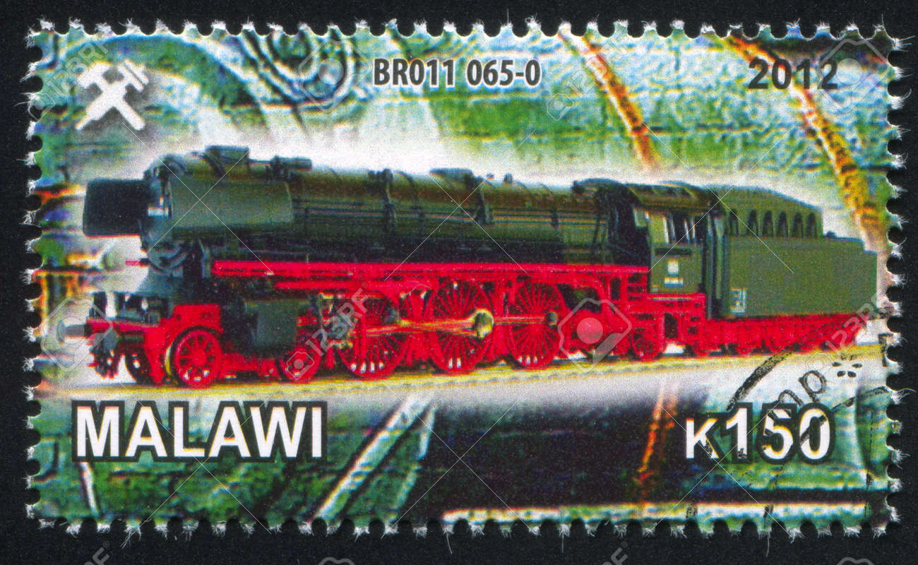 Malawi - CIRCA 2012: stamp printed by Malawi, shows Steam locomotive, circa 2012 Stock Photo - 23384211