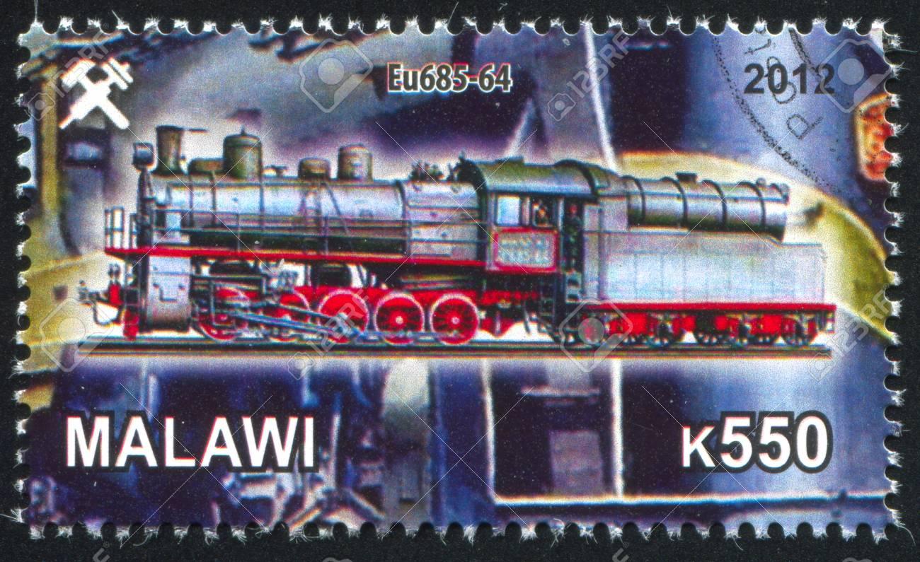 Malawi - CIRCA 2012: stamp printed by Malawi, shows Steam locomotive, circa 2012 Stock Photo - 23384213