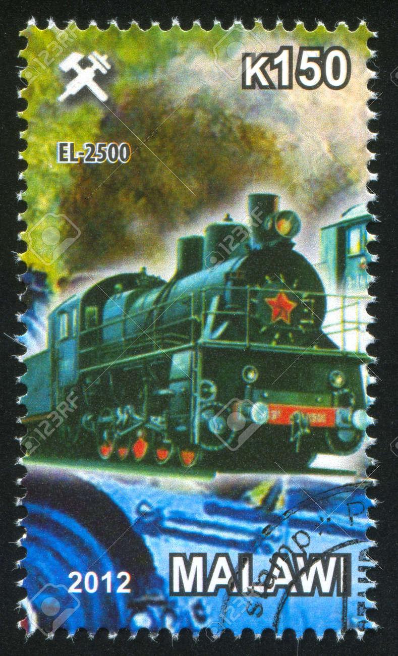 Malawi - CIRCA 2012: stamp printed by Malawi, shows Steam locomotive, circa 2012 Stock Photo - 23384327